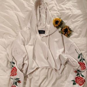 Pac Sun Custom Crop Hoodie w/ Roses